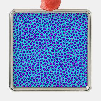 Cheetah Print Purple on Blue Metal Ornament