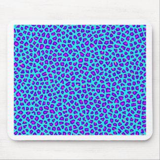 Cheetah Print Purple on Blue Mouse Pad