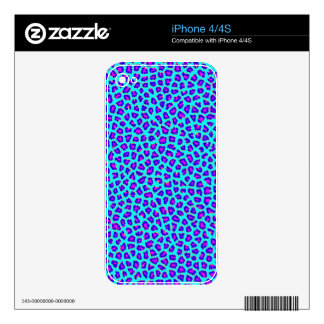 Cheetah Print Purple on Blue Decal For The iPhone 4S