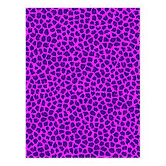 Cheetah Print Purple on Pink Postcard