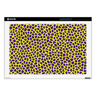 "cheetah print purple on yellow 17"" laptop decal"