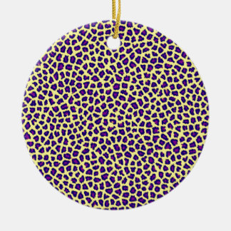 cheetah print purple on yellow ceramic ornament