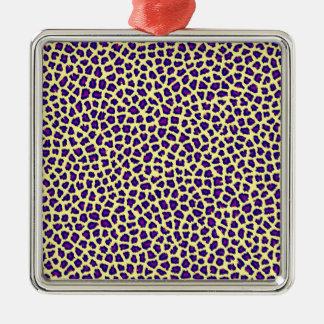 cheetah print purple on yellow metal ornament