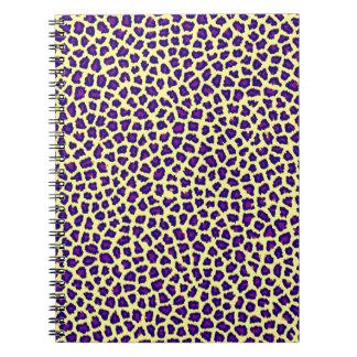 cheetah print purple on yellow note book