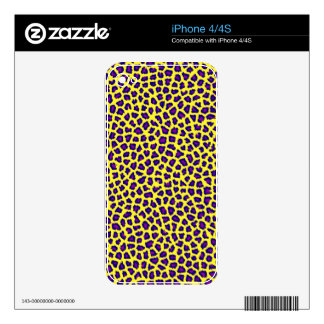 cheetah print purple on yellow decals for iPhone 4