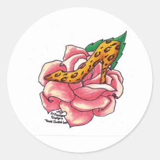 Cheetah Print Rose Classic Round Sticker