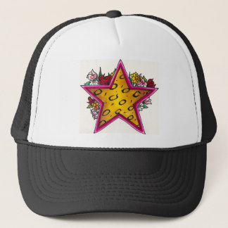 Cheetah Print Star with Floral Bouquet Trucker Hat