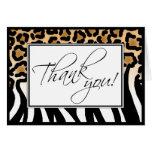 Cheetah Print to Zebra Print Custom Thank You Card