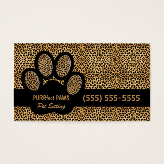 Cheetah Print with Custom Paw Pet Sitter Business Card