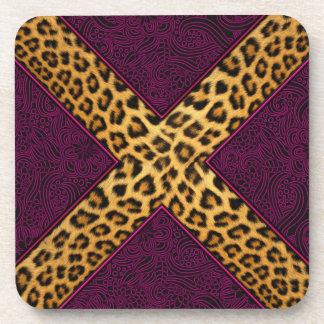 Cheetah Print X Beverage Coasters