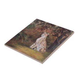 Cheetah Sitting Proud Tile
