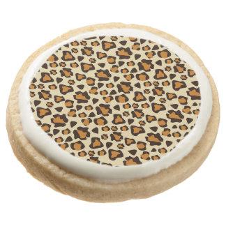 Cheetah skin pattern round shortbread cookie