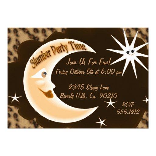 Cheetah Sleepy Moon Slumber Party Custom Invites