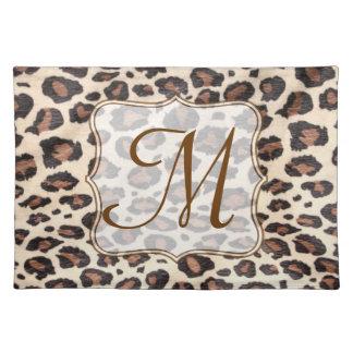 Cheetah Spot Animal Monogram Initial Place Mat Cloth Place Mat