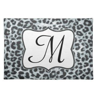 Cheetah Spot Animal Monogram Initial Place Mat Cloth Placemat