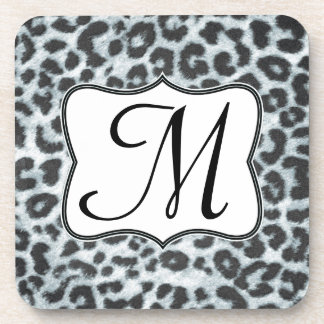 Cheetah Spot Animal Print Monogram Drink Coaster
