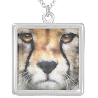 Cheetah Square Pendant Necklace
