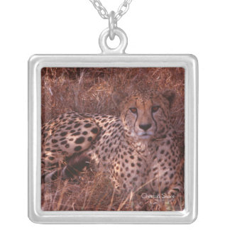 Cheetah Stare Silver Plated Necklace