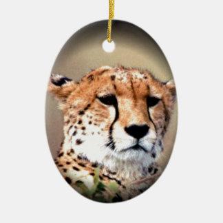 Cheetah Tear Marks Hakunamatata Double-Sided Oval Ceramic Christmas Ornament