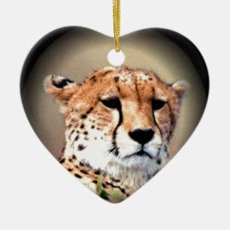 Cheetah Tear Marks Hakunamatata Double-Sided Heart Ceramic Christmas Ornament