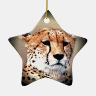 Cheetah Tear Marks Hakunamatata Double-Sided Star Ceramic Christmas Ornament