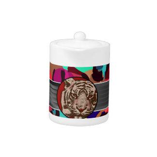 Cheetah Tiger Abstract Teapot