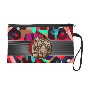 Cheetah Tiger Abstract Wristlet Purse