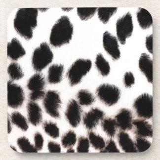 Cheetah White Print Beverage Coasters