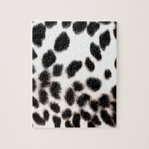 Cheetah White Print Jigsaw Puzzles