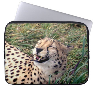Cheetah With A Huge Grin On Her Face, Computer Sleeve