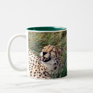 Cheetah With A Huge Grin On Her Face, Two-Tone Coffee Mug