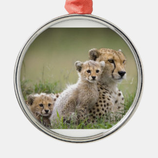 Cheetah With Her Cubs Motherhood Ornaments