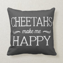 Cheetahs Happy Pillow - Assorted Styles & Colors
