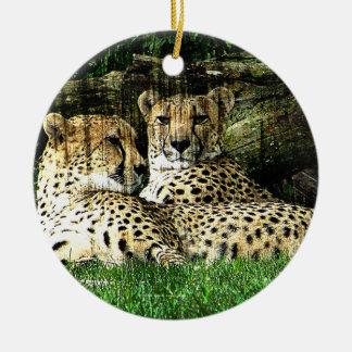 Cheetahs Lounging Grunge Ceramic Ornament