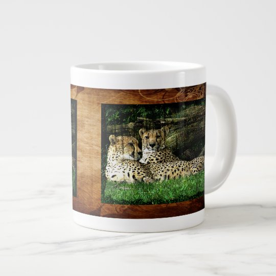 Cheetahs Lounging Grunge Large Coffee Mug