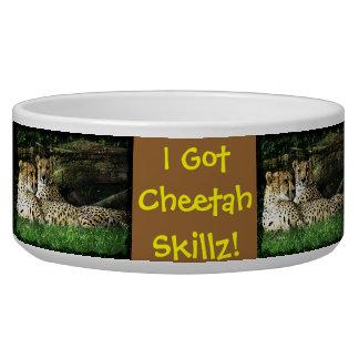 Cheetahs Lounging Grunge Dog Food Bowls