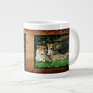 Cheetahs Lounging Grunge Jumbo Mugs
