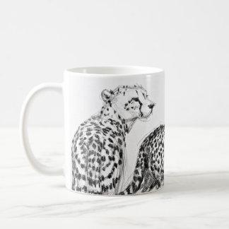 Cheetahs on the Savannah Wraparound Black & White Coffee Mug