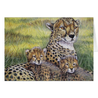 """Cheetha with Cubs"" Greeting Card"