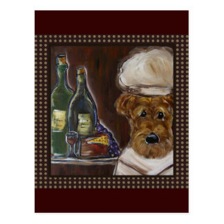 CHEF AIREDALE TERRIER POST CARD