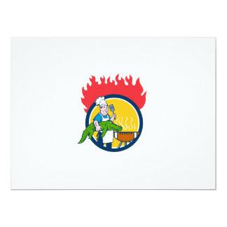 Chef Alligator Spatula BBQ Grill Fire Circle Carto Card