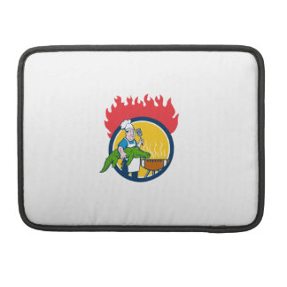 Chef Alligator Spatula BBQ Grill Fire Circle Carto MacBook Pro Sleeve