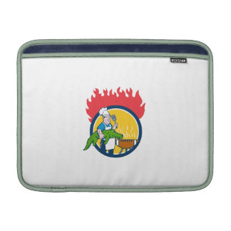 Chef Alligator Spatula BBQ Grill Fire Circle Carto MacBook Sleeve