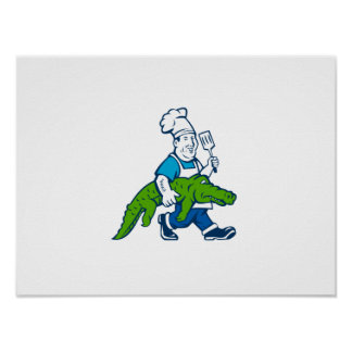Chef Alligator Spatula Walking Cartoon Poster