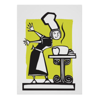 Chef and baked Bread Posters