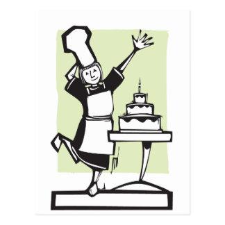 Chef and Birthday Cake Postcard