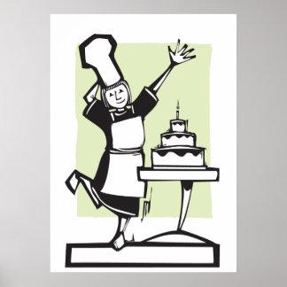 Chef and Birthday Cake Print