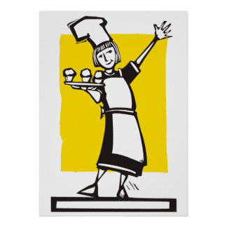 Chef and cupcakes posters