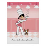 Chef and dog in the Kitchen Poster