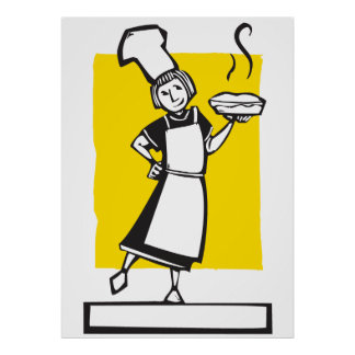 Chef and fresh pie poster